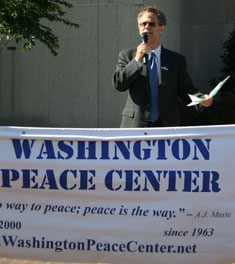 zool voices opposition to the war before being arrested for disruption at a hearing with General David Patraeus.