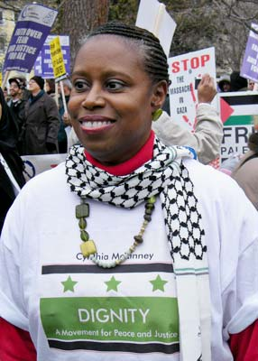 Cynthia McKinney at the rally. photo courtesy of http://whitehouseprotest.org/