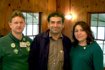 Pakistani Green co-spokesperson Liaquat Ali (center) meets with Steve Alesch, 2010 Green Congressional candidate (left) and Paloma Andrade 2008 Cook County Circuit Court Clerk candidate (right), at the Illinois Green Party state meeting.