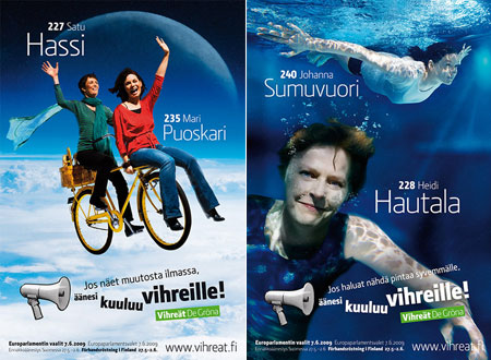 Campaign posters for successful Finnish Greens, Satu Hassi and Heidi Hautala
