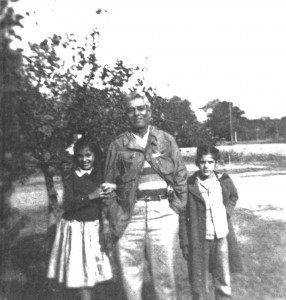 Jose ìEmilianoî Garcia, father of Eloisa Garcia Tamez, photo 1949, farmed the land that is now divided by the wall.