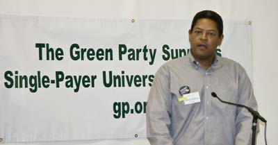 Alfred Molison, candidate for Houston City Council, speaking at a press conference of Green Party candidates. | photo by David Doonan