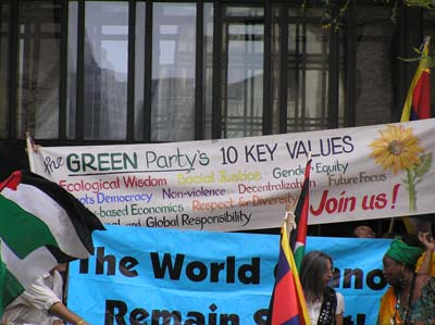 The Green Party Ten Key Values are held high at the Peopleís March on September 25th to protest the G20 Economic Summit in Pittsburgh, Pennsylvania. Photo by Mark Child