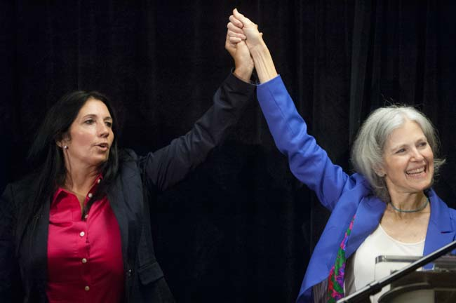 Jill Stein & Cheri Honkala accepting the nomination. Photo by David Doonan