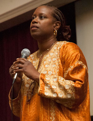Cynthia McKinney addressing the 2007 National Meeting, Reading PA.  Photo by David Doonan