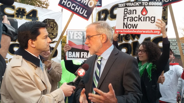 Howie Hawkins, running for governor of New York in 2014, interviewed by local television prior to his attendance at the Governor's debate in Buffalo.Photo: David Doonan