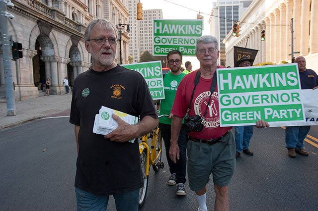 Howie Hawkins marches with Jon Flanders (right) at a Labor Day Parade in Albany, New York, 2014. Photo: David Doonan